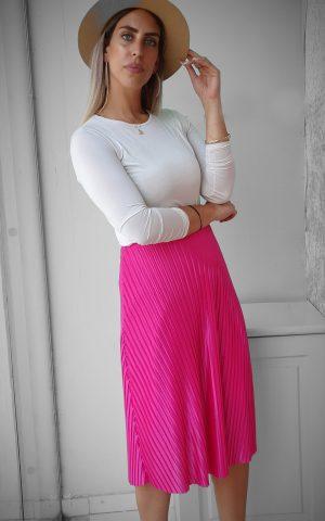 חצאית פליסה ורוד פוקסיה