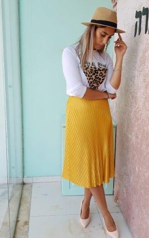 חצאית פליסה חרדל
