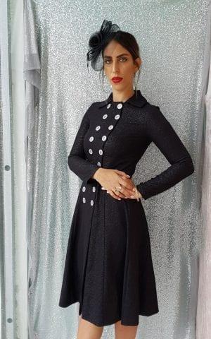 שמלת קייט כפתורים שחור
