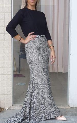 חצאית עלים שחור לבן