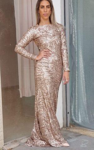 שמלת פייטים ברונזה