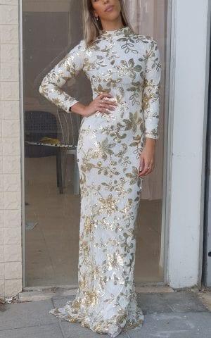 שמלת פייטים זהב שמנת