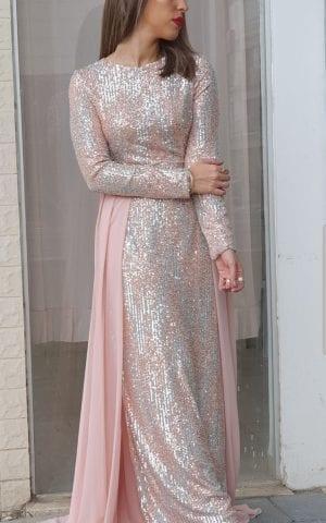 שמלת ערב פייט שיפון ורוד