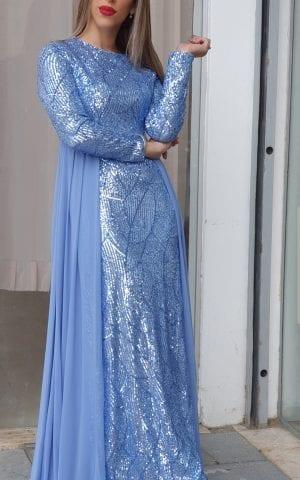 שמלת ערב פייט שיפון כחול
