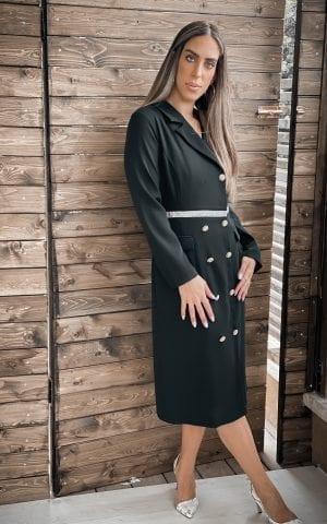 שמלת קייט שחורה מכופתרת