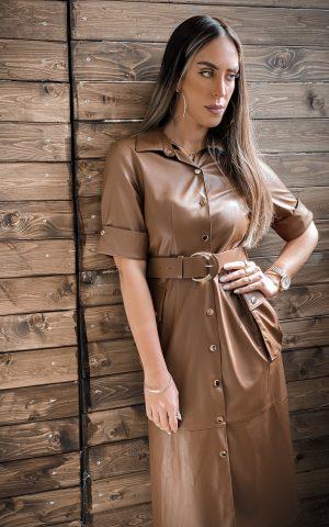שמלת עור מעוצבת חום